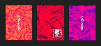 Moderne dekkingsmalplaatjes Vloeibare kleuren Abstracte marmeren effect vectorachtergrond royalty-vrije illustratie