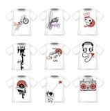 Moderne Designe T-Shirts der Hippie-Gekritzelart Stockfoto