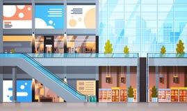 Moderne Detailhandel met Veel Winkels en Supermarkt Leeg Binnenland Geen Mensen vector illustratie