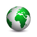 Moderne die aarde in groen wordt gekleurd royalty-vrije illustratie