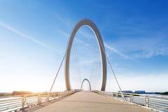 Moderne die brug in Nanjing, China wordt gevestigd royalty-vrije stock foto