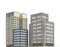 Moderne die gebouwen op witte 3d illustratie worden geïsoleerd als achtergrond royalty-vrije illustratie