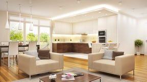 Moderne die keuken met woonkameropen plek wordt gecombineerd stock afbeelding