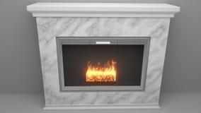 Moderne die open haard van marmer met vlammen wordt gemaakt vector illustratie