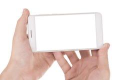 Moderne die smartphone ter beschikking op wit wordt geïsoleerd Stock Foto's