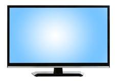 Moderne die Televisie bij witte achtergrond wordt geïsoleerd stock foto's