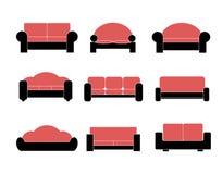Moderne die van luxebanken en lagen meubilairpictogrammen voor woonkamerillustratie worden geplaatst Royalty-vrije Stock Afbeeldingen