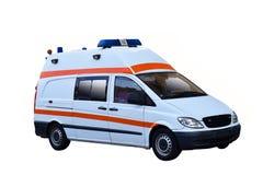 Moderne die ziekenwagennoodsituatie op witte achtergrond wordt geïsoleerd stock foto