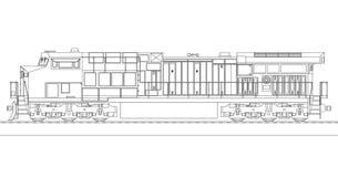 Moderne diesel spoorweglocomotief met grote macht en sterkte voor het bewegen van lange en zware spoorwegtrein Vectorillustratie  stock illustratie