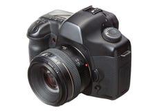 Moderne Digitale camera DSLR die op wit wordt geïsoleerdt Stock Foto