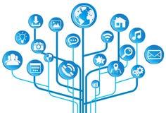 Moderne digitale elektronische Schaltung mit Ikonen Stockfoto
