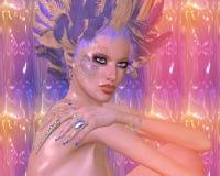 Moderne digitale Kunstschönheit und -mode, Fantasieszene mit Purpur und Goldfedern Stockfotos