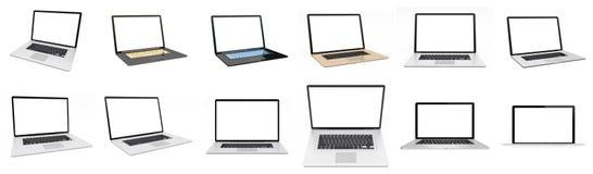 Moderne digitale silberne Wiedergabe des Laptopsatzes 3D Lizenzfreie Abbildung