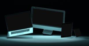 Moderne digitale silberne Wiedergabe des Technologiegerätes 3D Stockbild