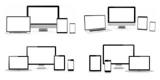 Moderne digitale silberne Wiedergabe des Technologiegerätsatzes 3D Stockfotos