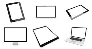 Moderne digitale silberne Wiedergabe des Technologiegerätsatzes 3D Lizenzfreie Stockbilder