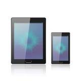 Moderne digitale tabletpc met mobiele smartphone op het wit Mobiele Toepassingsinterface Molecule en Stock Foto