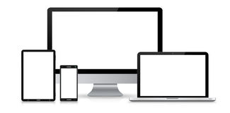 Moderne digitale Technologiegerätsammlung Stockfoto