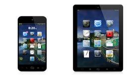 Moderne digitale telefoon en tablet op witte achtergrond Stock Foto's