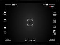 Moderne digitale videocamera die het scherm met montages concentreren Zwarte ontworpen de cameraopname van de gradiëntbeeldzoeker Royalty-vrije Stock Foto