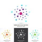 Moderne DNA van het reeks logotype pictogram en molecule Vectormalplaatje voor geneeskunde, wetenschap, technologie, chemie, biot stock illustratie