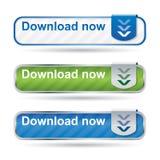 Moderne Downloadtaste stellte mit Reflexion ein Stockbild