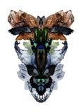 Moderne druk met vlinders, water, kristallen, insecten en vogelvleugels Royalty-vrije Stock Afbeeldingen