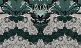 Moderne druk met vogels, het breien en machines Grijs green Stock Afbeelding