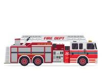 Moderne Ebene lokalisierter Feuerwehrmann Truck Illustration Lizenzfreie Stockfotos
