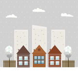 Moderne Eco-Stad, de Winterthema stock illustratie