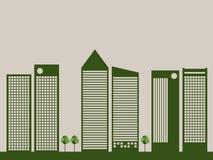 Moderne Eco-Stad Denk groen concept stock illustratie