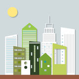 Moderne Eco-Stad Denk groen concept royalty-vrije illustratie