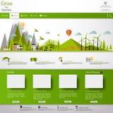 Moderne Eco-Websiteschablone mit flacher eco Landschaftsillustration Lizenzfreie Stockbilder