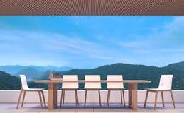 Moderne eigentijdse eetkamer met 3d teruggevende beeld van de bergmening Stock Fotografie