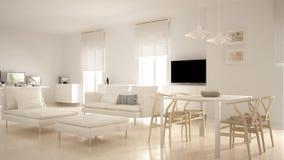 Moderne eigentijdse woonkameropen plek met eettafel en hoekbureau, huiswerkplaats met computers, minimale noordse whit stock afbeelding