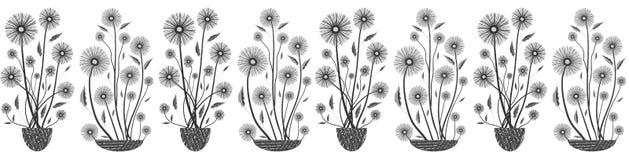 Moderne elegante bloemen naadloze vectorgrens in zwart-wit op witte achtergrond Hand getrokken bloemen en geweven royalty-vrije illustratie