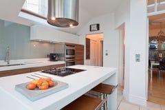 Moderne elegante gepaste keuken Stock Afbeeldingen