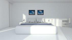 Moderne elegante Wiedergabe des Hotelzimmers 3D Stockfotos
