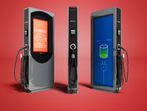 Moderne elektrische Brennstoffaufnahme mit Zahlung draußen für Elektroauto stock abbildung