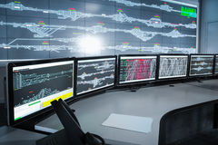 Moderne elektronische controlekamer, wetenschap en technologiebackgrou Royalty-vrije Stock Fotografie