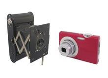 Moderne en antieke geïsoleerdee camera's Stock Afbeelding