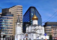 Moderne en oude architectuur van Moskou royalty-vrije stock afbeelding