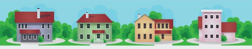 Moderne en oude geplaatste plattelandshuisjehuizen royalty-vrije illustratie