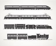 Moderne en uitstekende treinsilhouetten stock illustratie