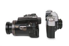 Moderne en verouderde camera's 2 stock afbeelding