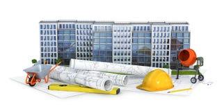 Moderne Europese woon complex op een witte achtergrond met tekeningsplan en hulpmiddelen stock illustratie