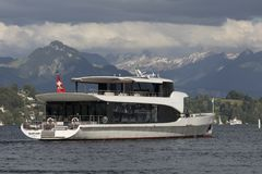 Lucerne, Switzerland June 7 2017: Moderne Excursion ship on the lake lucerne, Switzerland, EDITORI. Moderne Excursion ship on the lake lucerne, Switzerland Stock Photos