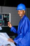 Moderne fabrieksarbeider royalty-vrije stock afbeeldingen