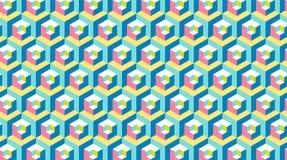 Moderne Fahne des Hexagons 3d Sich wiederholender Hintergrund Memphis-Art Lizenzfreie Abbildung