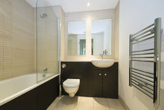 Moderne familiebadkamers in beige en bruin Royalty-vrije Stock Fotografie